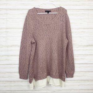 Lane Bryant   Mauve Speckled Layered Hem Sweater